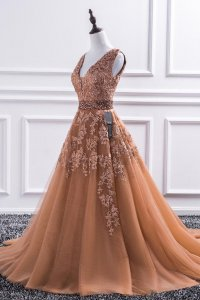 Junoesque V-Neck Appliques Deep Champagne Court Train Prom Dress Girl Prefer