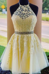 Halter Neck Lace Up Back Yellow Short Prom Dress With Leaves Pattern Lace