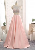 Designer Beading Adorned Keyhole Cut Out Back 2 Pieces Show Belly Prom Evening Gown Blush Pink