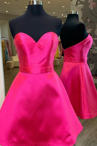 Sweetheart Wrapping Edge Fuchsia Satin Dama Dress Short Prom Dress With Sash
