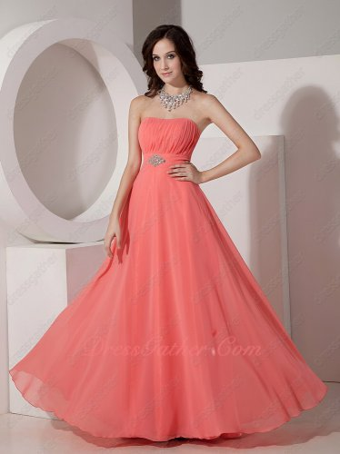 Strapless Watermelon Chiffon Corset Back Bridesmaid Dresses Crystals Decorate Wasitline