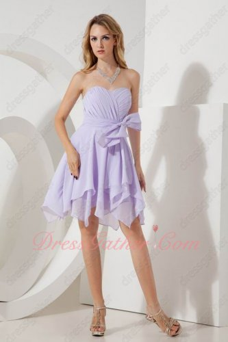 Cute Lilac Chiffon Various Lengths Hemline Junior Bridesmaid Dress With Bow Design