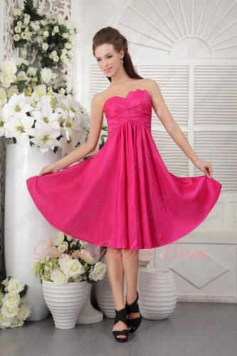 Empire Waist Hot Pink Taffeta Junior Girls Bridesmaid Dress Pin-tucks Skirt