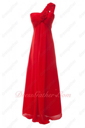 Rugosa Rose Strap One Shoulder Lightness Red Chiffon Party Dresses