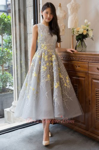 Customize Silver A-line Striated Lace Prom Dress With Luminous Yellow Shivering