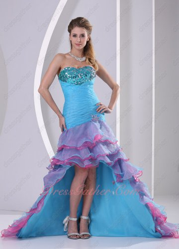 Beading High-low Mermaid Skirt Multi-color Layers Theatrical Dress Memorable