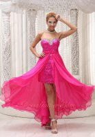 Fuchsia Shiny Sequin Sheath Skirt Waist Detachable Prom Dress Physical Store