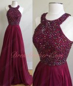 Scoop Full AB Colorful Crystals Magneta Wine Red Chiffon Evening Gowns Gorgeous
