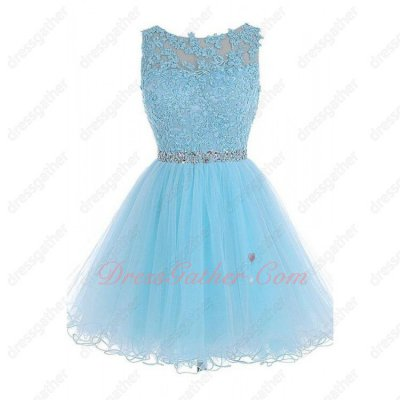 Scoop Appliques Curly Mesh Hem aby Blue Short Prom Dress High Quality Hot Sell Amazon