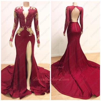 Sexy Deep V Neck Stretchy Fabric Left Slit Evening Gowns Wine Red With God Appliques