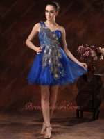 Dignified Dark Royal Peacock Tail Applique Single Shoulder Cocktail Dress AS Gift