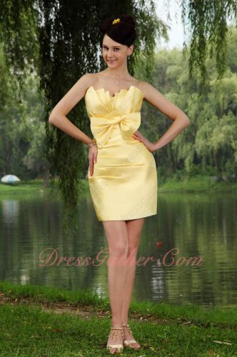 Daffodil Yellow Thick Stain Package Hips Bowknot Front Design Little Stage Dress
