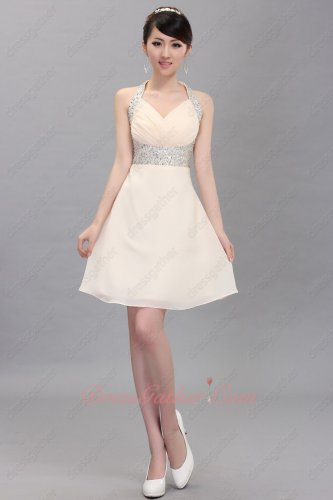 Special Price Beaded Halter Girlish Homecoming Short Dress By Champagne Chiffon