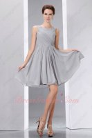 Silver Chiffon Square Collar Holiday Homecoming Short Prom Ceremony Dress Attend