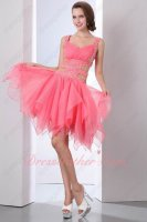 Sexy Exposed Waist Watermelon Triangle Hemline Sweet 16 Pageant Evening Dressing Lee