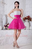 Beading White and Fuchsia Classical Prevalent Little Prom Gowns Demitoilet