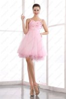 Adorable Spaghetti Straps Pink Short Sweet 16 Prom Evening Dress Soft Tulle