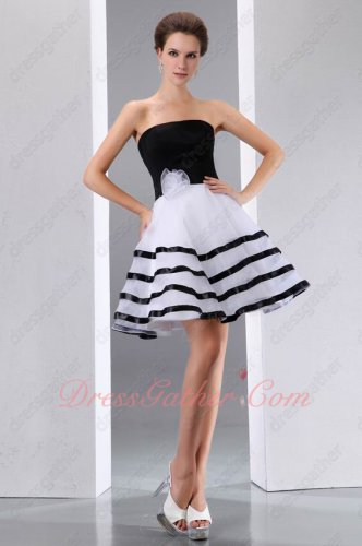 Classical Match Black Top/White Bottom Skirt With Bordure Short Prom Party Dress