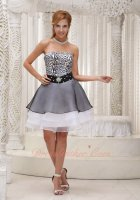 Leisure Leopard Bodice White and Black 3 Layers Short Prom Gowns Special Price