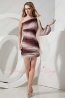 Single Long Sleeve Gradient Contrast Chiffon Package Short Night Club Evening Dress