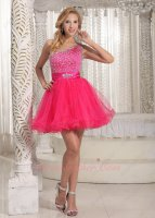 Nifty One Strap Upper Beaded Hot Pink Layers Tulle Mini Evening Club Short Prom Dress