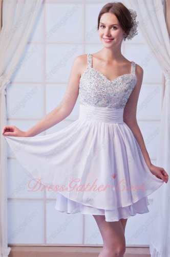 Classical Short White Party Dancing Little Prom Dress Double Straps Full Beading