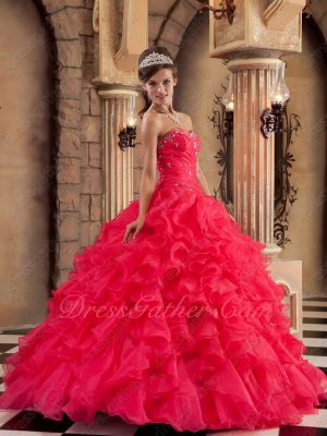 Deep Coral Thick Ruffles Skirt Sweet 16 Ceremony Quince Girls Ball Gown Under 180