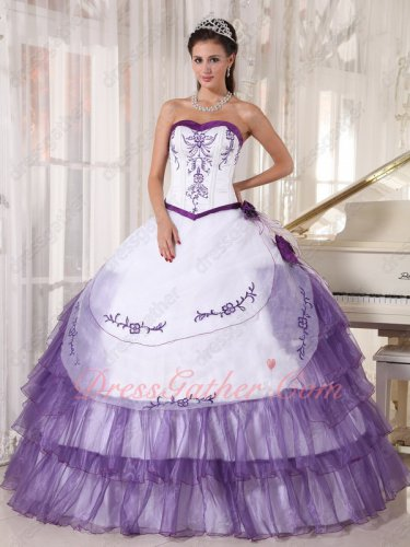 White and Pansy Grape Purple Designer Quinceanera Ball Gown With Embroidery