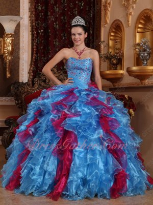 Carmine Fuchsia/Cornflower Sky Blue Mixed Dense Ruffles Exclusive Quinceanera Gown