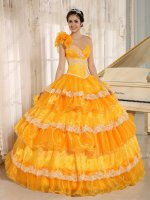 Bright Orange Like Cake Layers Quince Ball Gown For Military Grand Party/Event