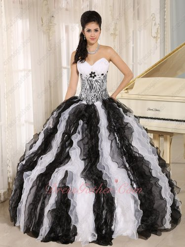 Classical White and Black Alternant Ruffles Quinceanera Gown With Zebra