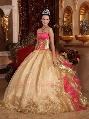 Flat Front/Gold and Hot Pink Mixed Ruffles Back Quince Military Gown Shiny
