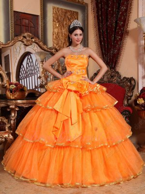 Layers Bright Orange Skirt Quinceanera Ball Gown With Bowknot/Ribbon Decorate