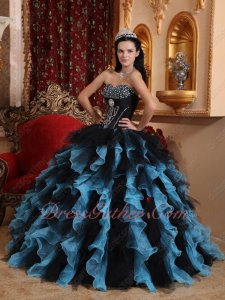 Amiable Aqua and Black Mixed Ruffles Skirt Quinceanera Gowns Organza and Tulle