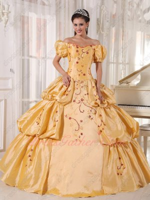 Short Bubble Sleeves Beauty and the Beast Theme Quince Ball Gown Dress Off Shoulder