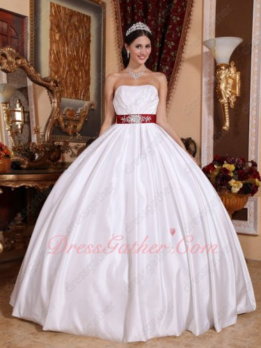 Pure White Satin Simple Quinceanera Ball Gown Wine Red Bowknot Back Under 160