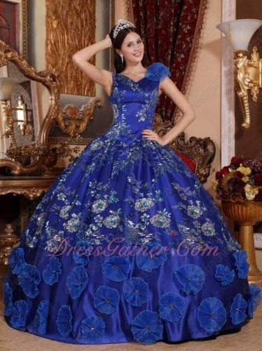 Sparkle Sequin Lace Cover Royal Blue V Neck Quinceanera Ball Gown With Lotus Leaves