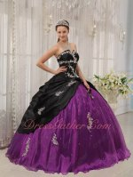 Orchid Purple Flat Organza With Black Coverage Strapless Quinceanera Ball Gown