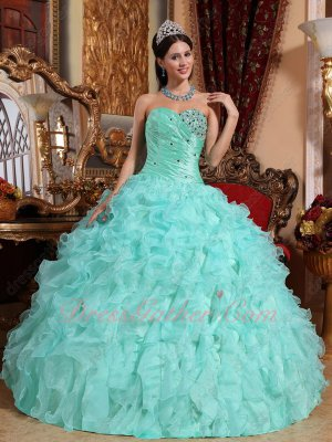 Mint Apple Green Serried Ruffles Celebrity Court Ball Gown Taffeta Top/Organza Bottom