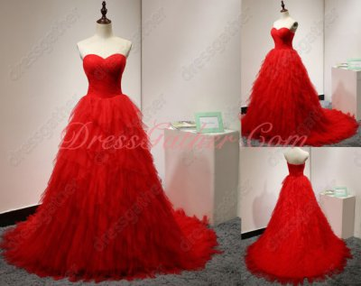 Normal Red Tulle Puffy Ceremony Evening Dress Crossed Layers Waterfall Design