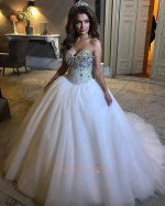 Glittering Crystals Bodice Multilayered Tulle White Wedding Bridal Gown Chapel Train