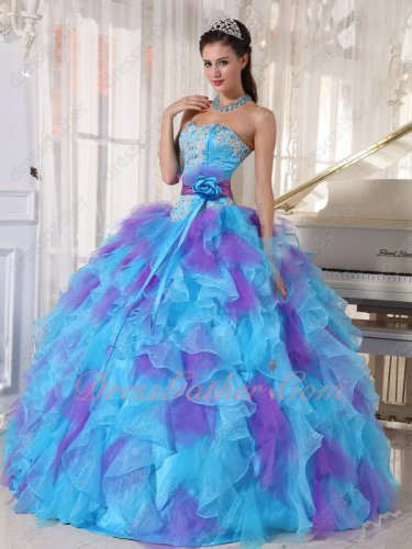 Aqua and Mauve Lilac Mixed Dense Ruffles Quinceanera Ball Gown Detachable Belt