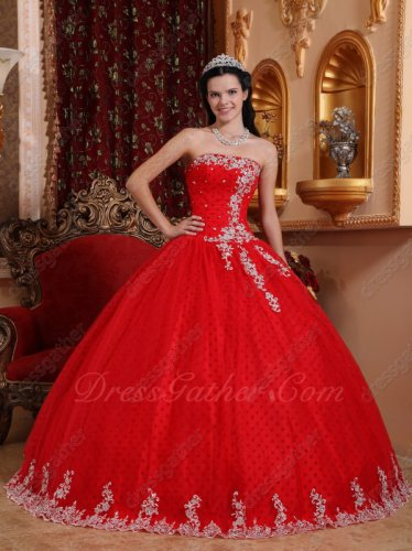 Strapless Red Tulle Quinceanera Ball Gown Wave Point Inside