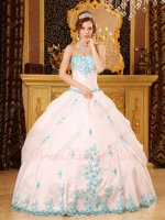 Commendatory White Quinceanera Dance Ball Gown With Aqua Blue Appliques Dentate Bottom