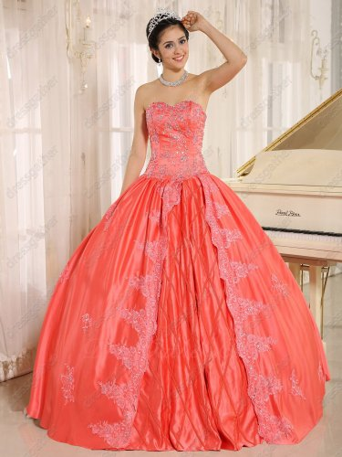 Crossed Stripes/Rhombus Center Skirt Watermelon Evening Quince Ball Gown Lacework