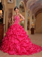 Spaghetti Straps Embroidery Hot Pink Bubble Train Quinceanera Ball Gown