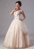 Most Choice Pearl Champagne Smooth Tulle Puffy Night Ball Gown Side Hang Up/Overlay