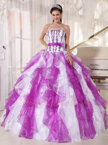 Bright Purple And White Ruffles Organza Mingled Quinceanera Ball Gown Factory Direct