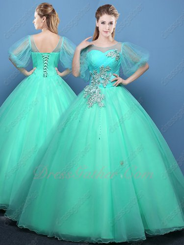 Mint Green Sheer Tulle Scoop Bubble Sleeves Quinceanera Court Ball Gowns With Applique