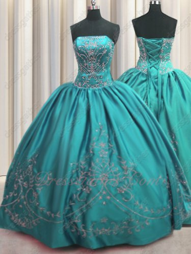 Western Style Turquoise Flat Satin Quinceanera Dress Silver Embroidery